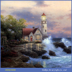 Beautiful village scene waterfall oil paintings with LED light
