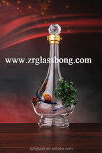 Top grade Latest enjoyable style glass bottle with flower pattern