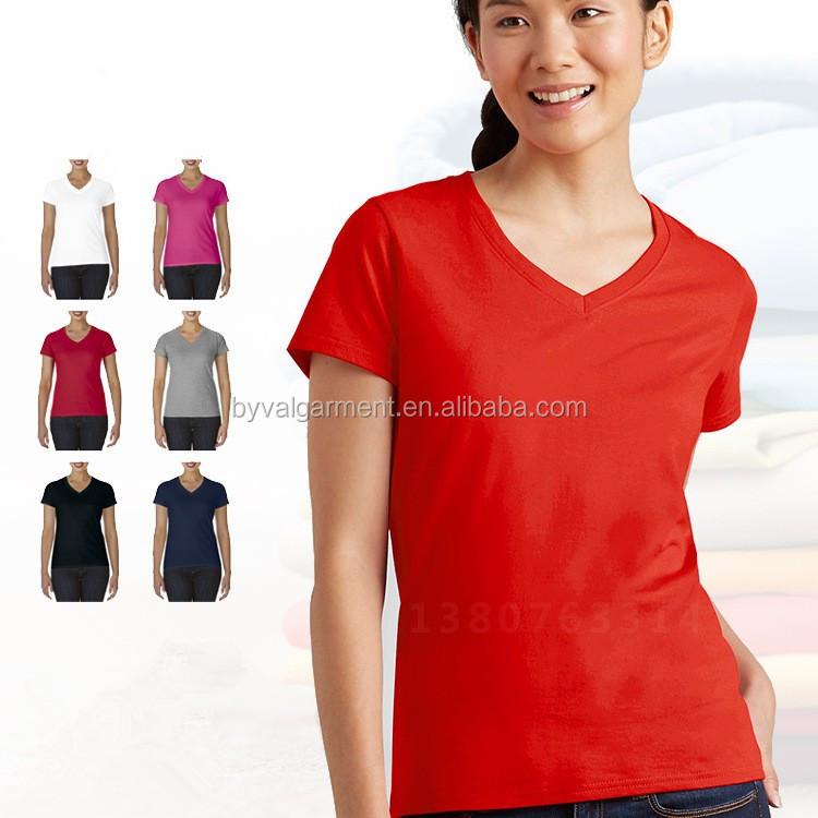 90 cotton 10 polyester v-neck short sleeve tshirts for women (8).jpg