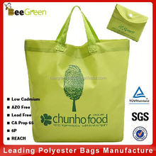 Promotional integrated snap pouch design foldable nylon plain custom tote bag