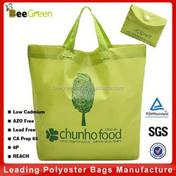 Promotional integrated snap pouch design foldable nylon custom plain tote bag