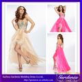 Mais recente designer sexy-de-rosa uma linha de cristais sweetheart corpete organza saia longa cauda vestido de cocktail 2014