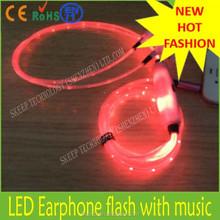 20150801- LED headphone/Novelty headphone/Earbud with 12mm Speaker Flat Wire headphone earmuff silicon.