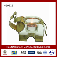 Abstract Iron Elephant Glass Candle Holder Insert