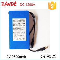 Portable 9800mAh 12V Super Rechargeable Li-ion polymer Battery Pack DC for LED boards