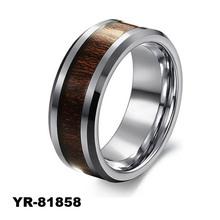2015 New Trend Fashion Hot Selling tungsten and titanium rings With Hawaiian Koa Wood Inlay,koa wood titanium ring