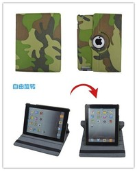 Camouflage Pattern 360 Rotating Fliping Stand PU Tablet Leather Cover Case For ipad 2/3/4, For ipad air, For ipad mini 1/2/3