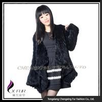 CX-G-A-168 2015 Fashion Black Knitted Rabbit Fur Jacket