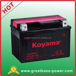 Shenzhen Greatbase power battery YTX4L-BS-4Ah 12V sealed lead acid battery motorcycle battery 12V 4Ah