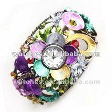Fashion Flower Style Retro colored stones bronze Wrist Bracelet Watch