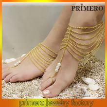 Primero cadena de múltiples capas de perla pulsera para el tobillo del embutido de la aleación del pie de la pulsera Mittens foot pulsera