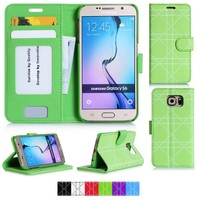 Wallet Case for Samsung S6-Green PU&Flip Cover&Card Holder