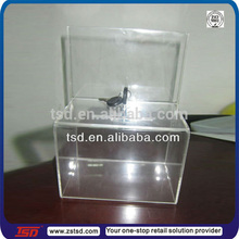 TSD-A032 wholesale acrylic donation boxes with locks/transparent donation boxes/custom donation boxes