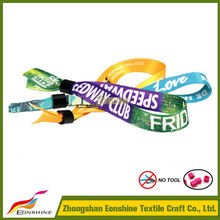 Cheap One Time fabric polyester wristband festival with buckle