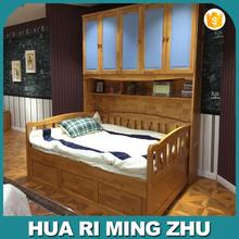 Madeira maciça crianças cama com roupeiro conjunto de móveis