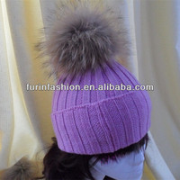 2015 Hot Sell Wholesale Winter Colorfurl Wool Hats With Fur Balls