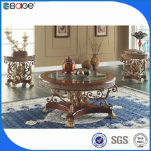 C-8005 mobile home furniture s shape glass coffee table