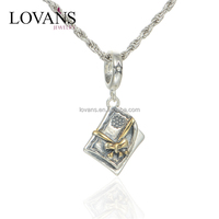 Custom Engraved Metal Jewelry Tags Antique Silver Charms Pendants WholesaleS224