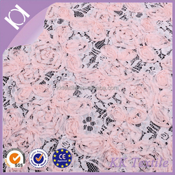 2016 fashion 3D flower lace fabric base wtih 1 cm width chiffon sourache embroidery