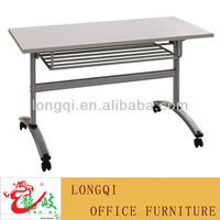 modern melamine table top folding steel frame with caster wheel school student study desk laboratory training writing table