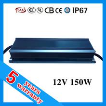 5 years warranty 24V 12V 150W waterproof electronic LED transformer for LED strip