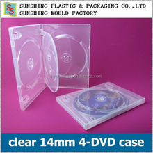clear crystal 14mm 4-DVD case with tray
