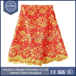 Red with Rose Printing Fabric African Chemical Polyester Lace 2015 Nigerian Cord Lace Fabric for Christmas Party