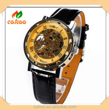 2015 new design automatic watches mechanical movement genuine leather strap mens skeleton watches fashion