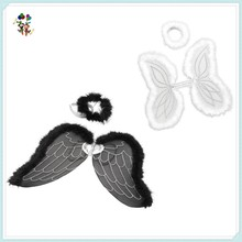 2 Colors Hen Party Christmas Fancy Dress Marabou Angel Wings with Halo HPC-0817