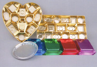 Disposable plastic tray with gold & silver various color painting