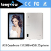 New stylish quad core android 7 inch A33 2G phone tablet pc