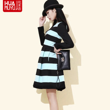 2015 spring women's discount brand elegant female occupation OL through Le stripe stitching dress special wholesale
