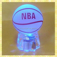 Customized Engraved Cheap Crystal Basketball With Led Light Base