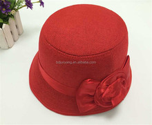 Fashion custom lace band linen hat ladies elegant hats quilt with fur seat cover