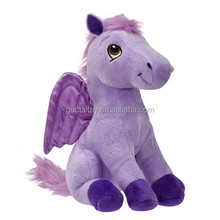 purple sitting plush horse with wings plush flying horse toy for kids gift