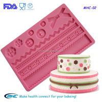 Fabric flower button silicone mold , cake decorating pastry mat