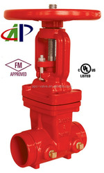 """10"""" AWWA C515 UL FM APPROVED RISING STEM GATE VALVE WITH GROOVED END"""