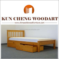 Simple style comfortable solid wood China pine single bed