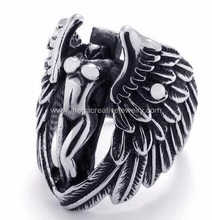 316L Stainless Steel Biker Gothic Mens Angel Wing Ring