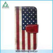 Fashion Retro Flag PU Leather Case for iphone 6, for iphone 6 Custom Printing PU Leather Case