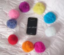 Fashion Winter Rabbit Fur Pom Poms / Colored Decorative Fur Balls