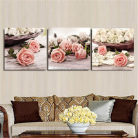 Fashion 3 Piece Canvas Wall Art Wall Pictures Wall Painting Rose Flowers Home Decorative Paint on Canvas Prints No Frame 40x40cm