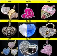 Hot selling nice jewelry heart shape usb flash drive 8gb
