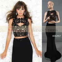 AO62917 Free Black Lace Mermaid Long Prom Dress 2015 Made In China