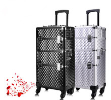 Professional makeup carrying case, metal makeup case, metal trolley nail cosmetic case
