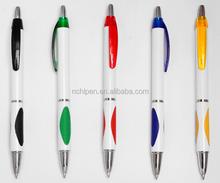 white cheap price plastic click ball pen