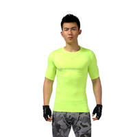 Fluorescent Green Polyester Spandex Fabric Quick Dry Breathable Soft Running Gym T shirt Compression Shirt running t shirt