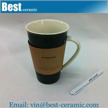 wholesale paintable 16oz porcelain travel mug with pen