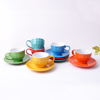 Liling 5oz cheap embossed color ceramic cup and saucer