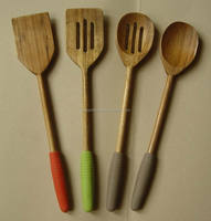 Wood Utensils 4-Pieces Set, Made of Beech wood with Silicone sleeve Round Handle